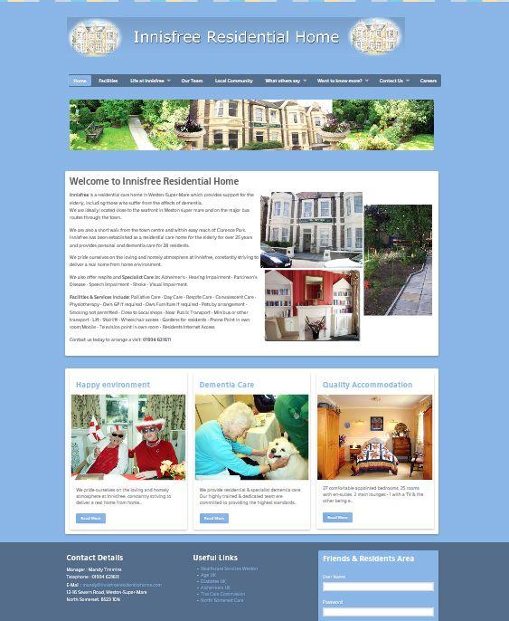 Innisfree Residential Care Home Weston Super Mare Residential Care Home Portfolio Web Design Website Redesign