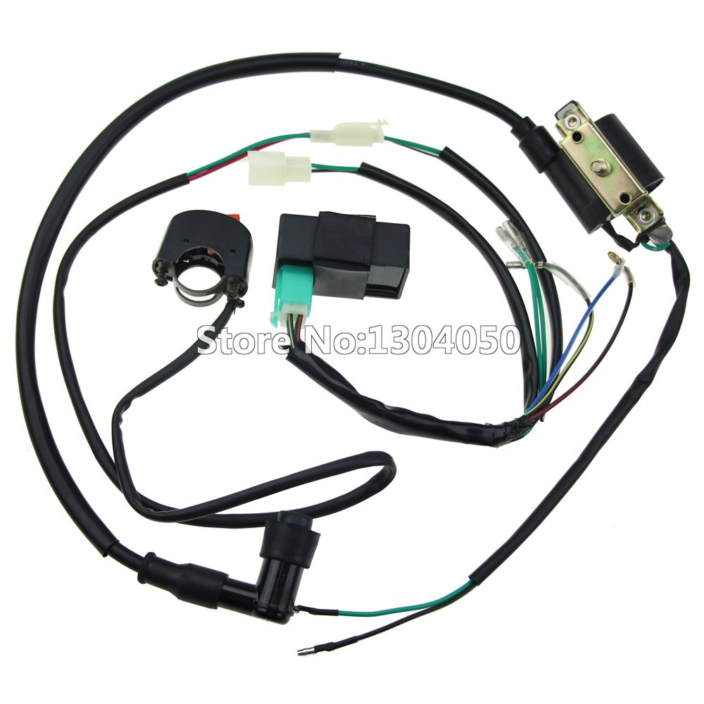 Complete Kick Start Engine Wiring Harness Loom Cdi Box Ignition Coil Motorcycle Looms Kill Switch 50 70 90