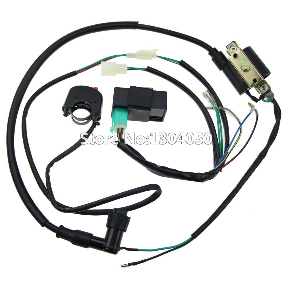 Plete kick start engine wiring harness loom cdi box ignition coil kill switch 50 70 90