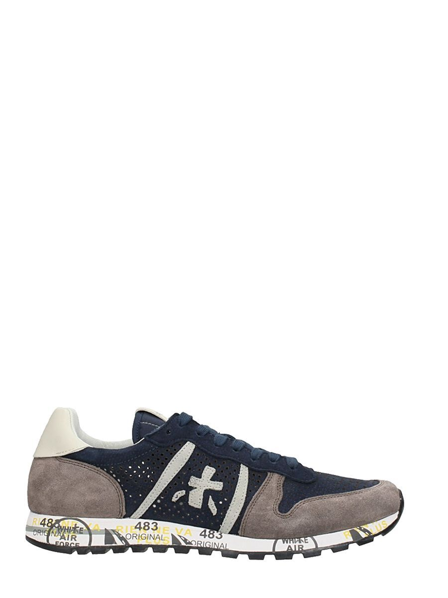 Premiata Lucy In Blue Suede And Fabric Sneakers For Men Online