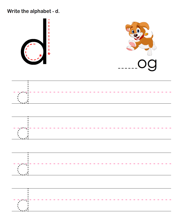 Small Letters D  Learn To Write Letters Worksheets For Kids