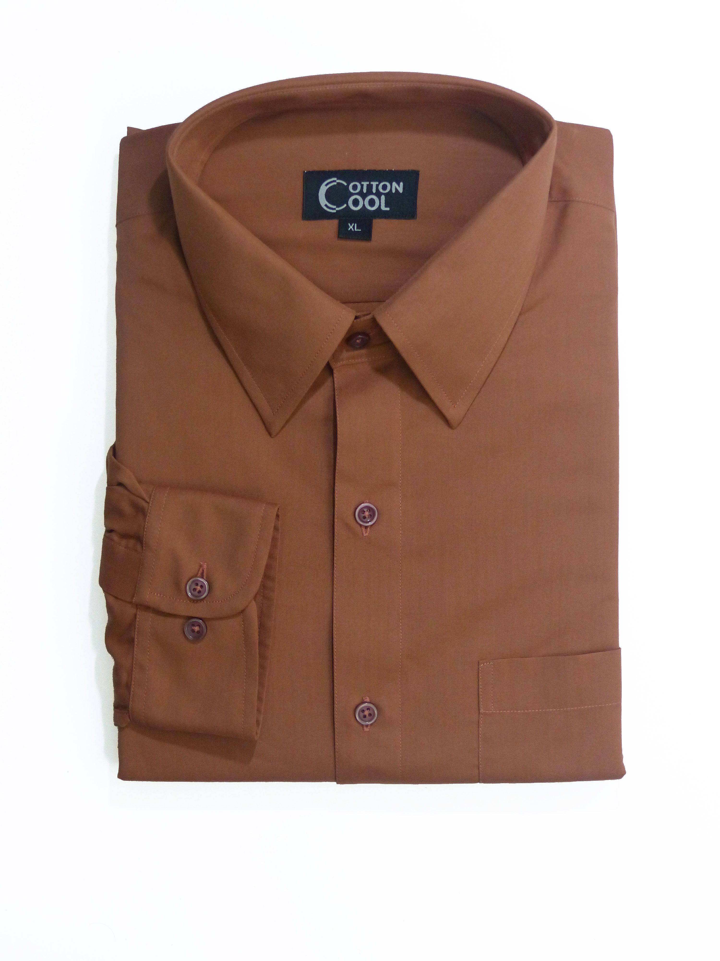 Slim Fit Point Collar Long Sleeve Shirt, Classic II Solid - Bronze