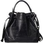 Snake-effect Drawstring Black Shoulder Bag