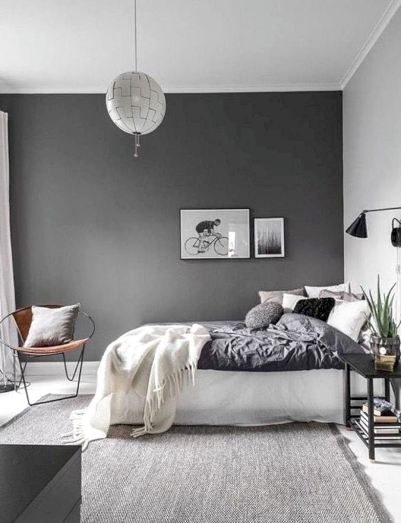 48 Modern Tiny Bedroom With Black And White Designs Ideas For Small Spaces Roundecor Gray Bedroom Walls Bedroom Wall Colors Bedroom Wall Paint