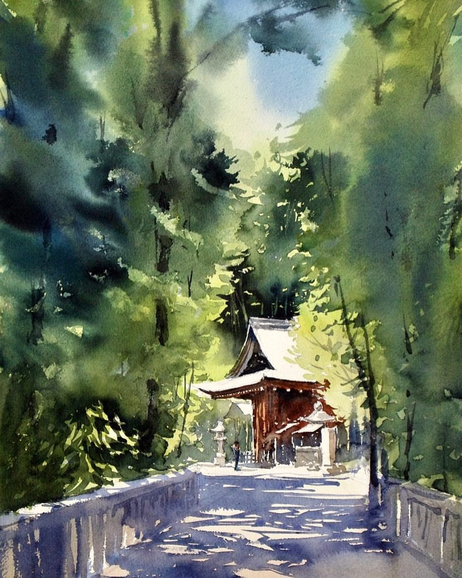 Spiritual Energy In Japan Watercolor 1hour Bridge Japan