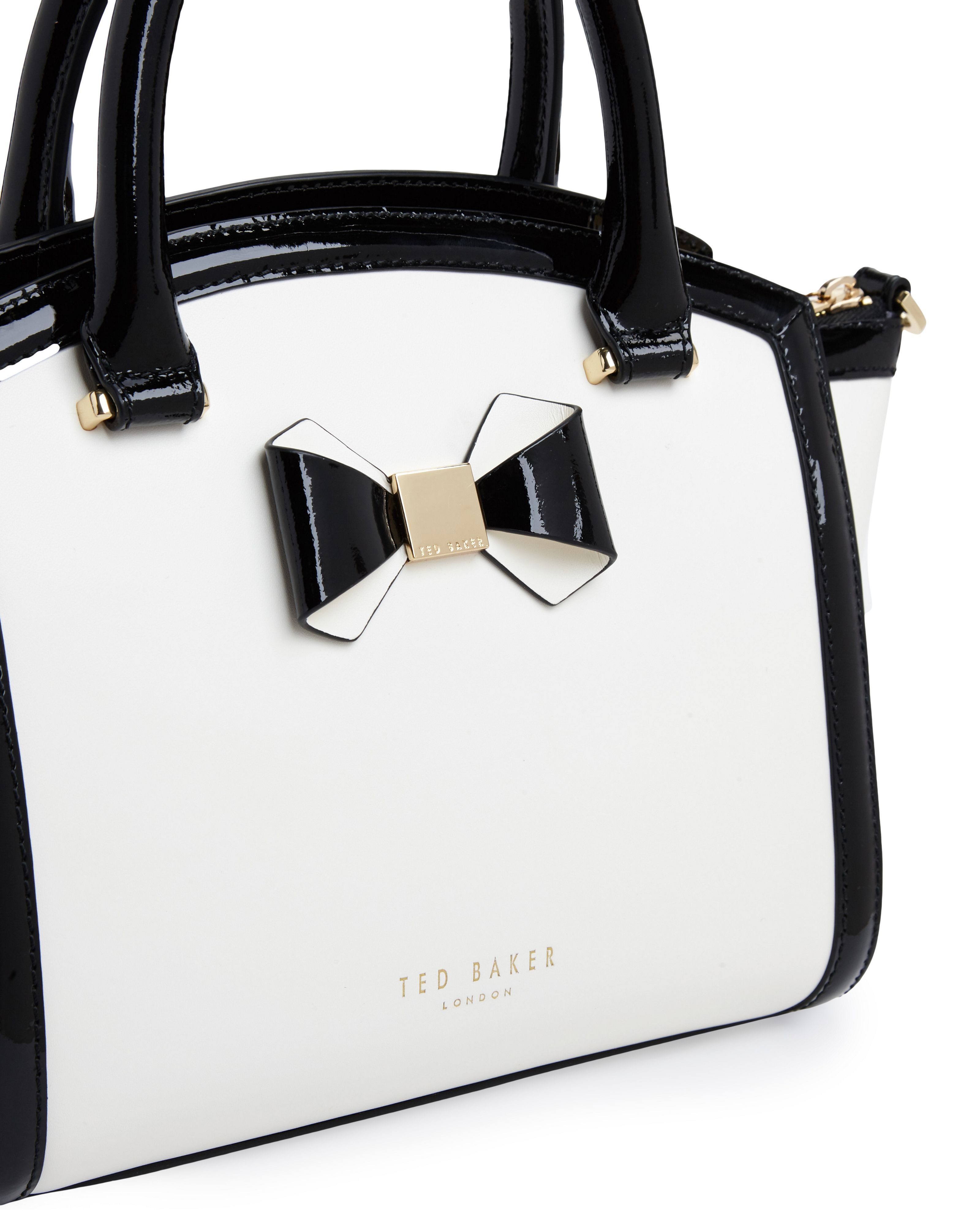 992a5b9fbb7 Buy Ted Baker Women's White Demmie Curved Bow Leather Tote Bag ...