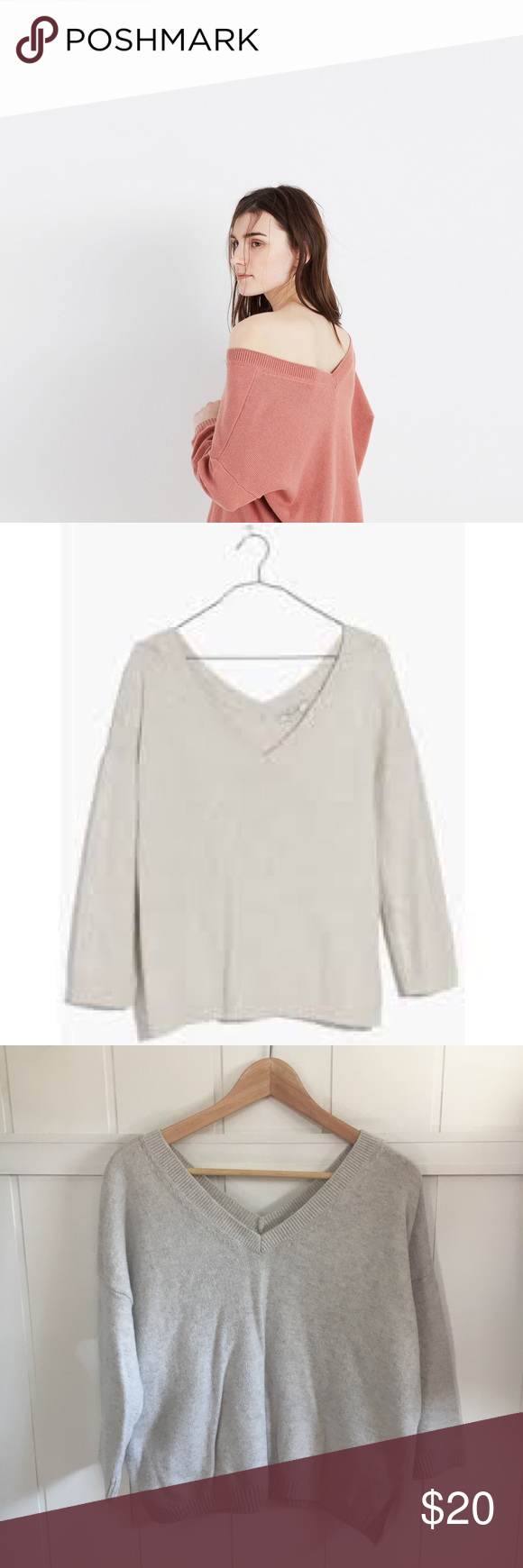 Madewell Double V Sweater in Pale Gray Double V sweater by