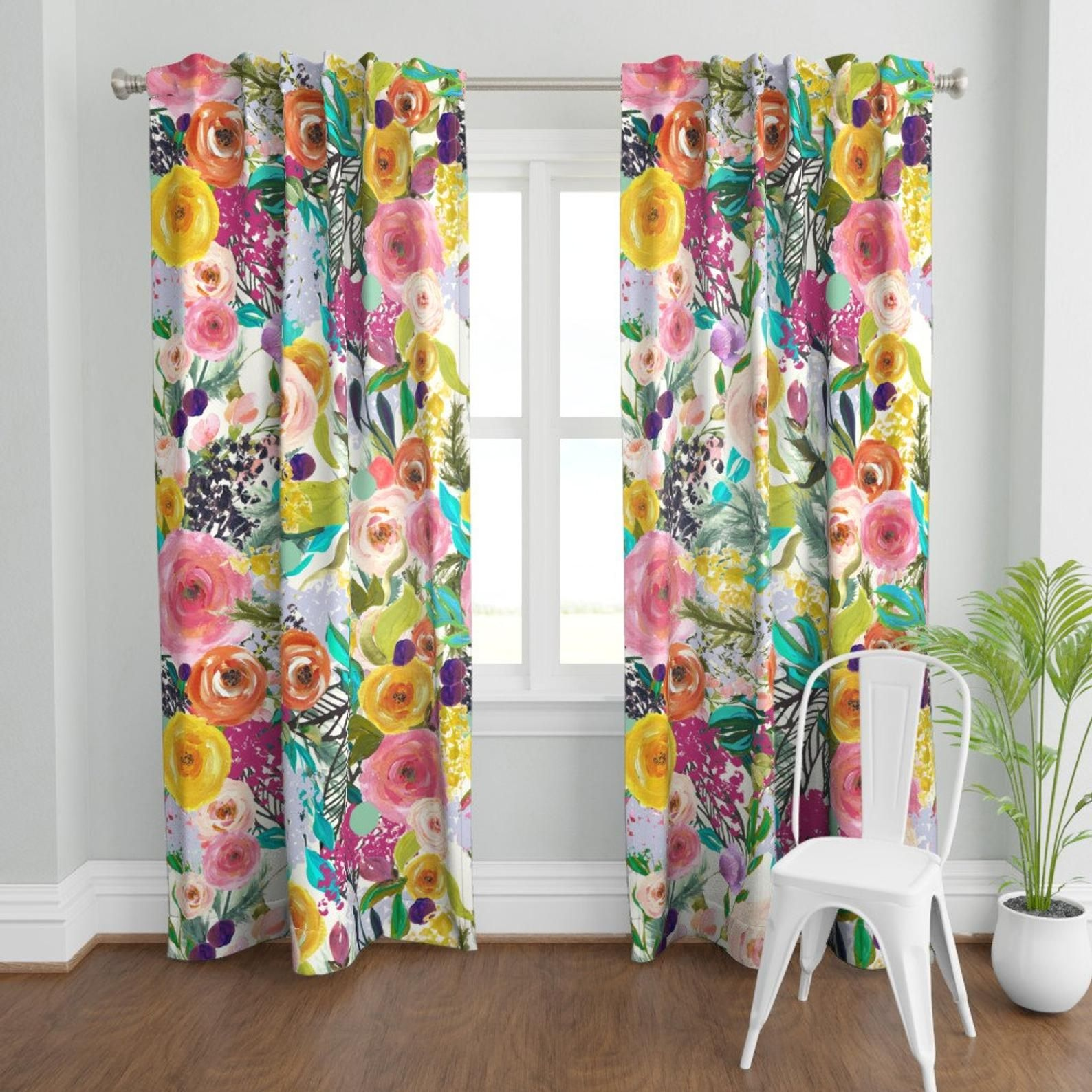 Pin On Floral Curtains