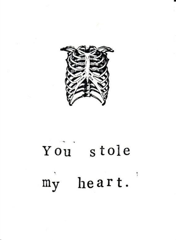 You Stole My Heart Card | Funny I Love You Skeleton Anatomy Medical ...