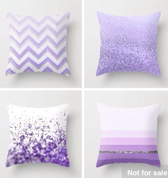 4 purple throw pillows