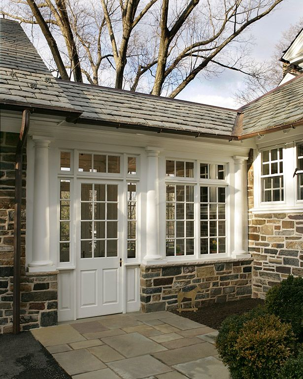 Tuscan Columns Clearstory Glass And 12 Lite Windows And Doors Enhance The Breezeway Exterior House Remodel Princeton Houses Craftsman House Plans