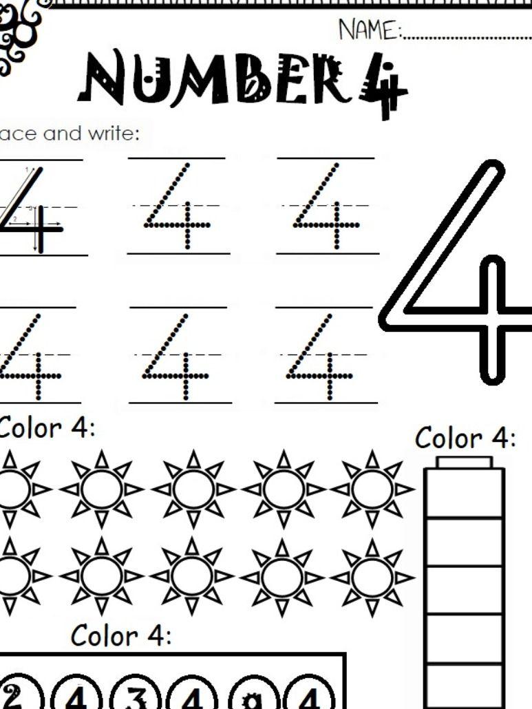 Number 4 Worksheet For Kids Preschool Number Worksheets Worksheets For Kids Fun Worksheets For Kids