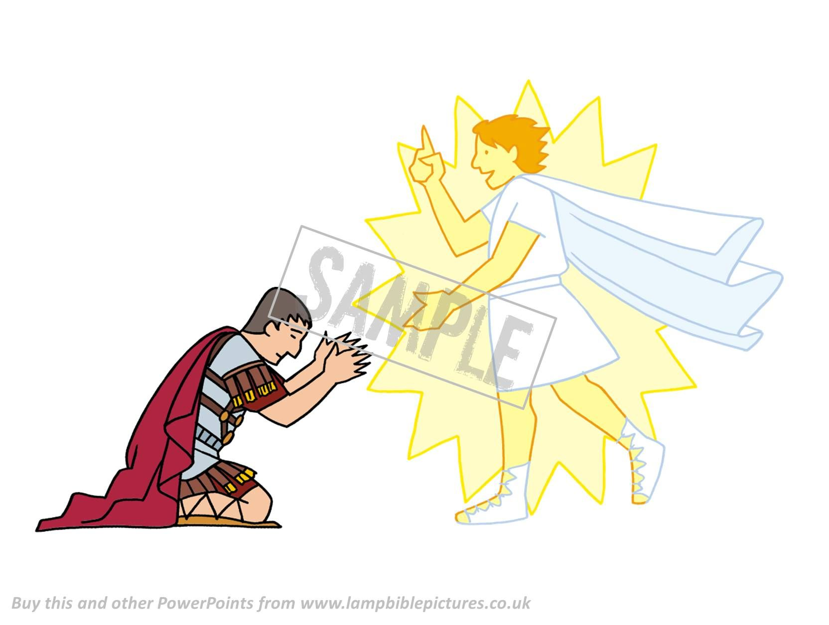 God sends an angel to Cornelius while he is praying. From the Bible story PowerPoint presentation 'Cornelius'. That cloak was hard to draw!