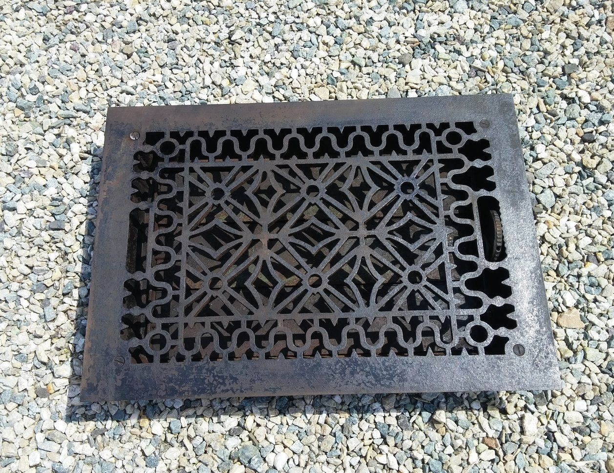 Antique Floor Grille Cast Iron Victorian 15x10 Louvers Grate Heat Register Decor Flooring Grates