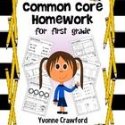 Common Core Homework for First Grade - Standards written on each activity $