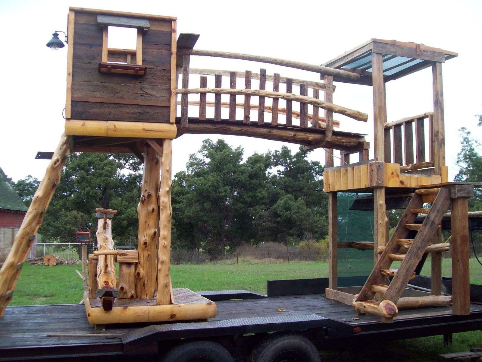 Reclaimed Barn Wood and Cedar Log Swingset Play houses