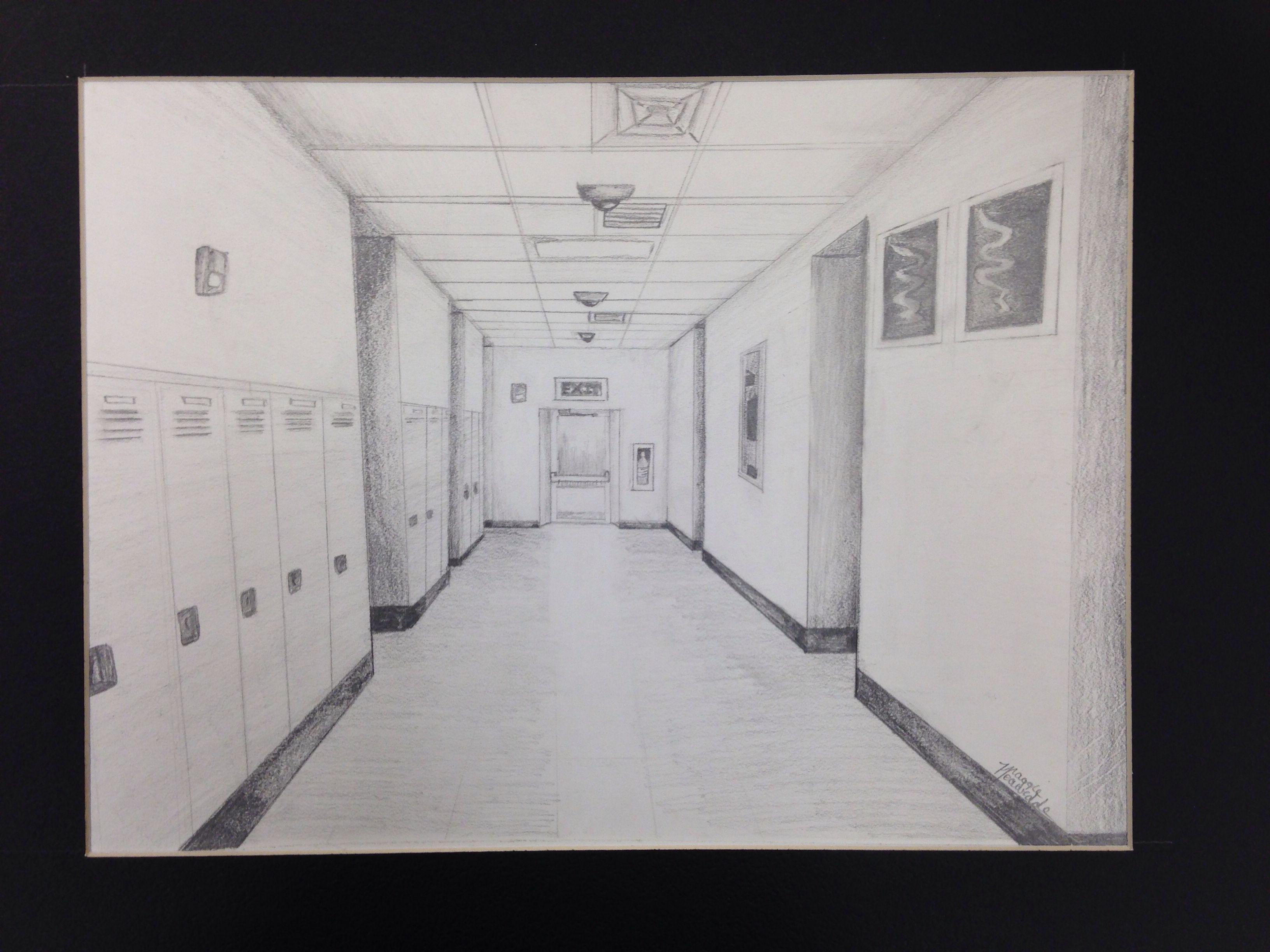 school hallway drawing - HD3264×2448