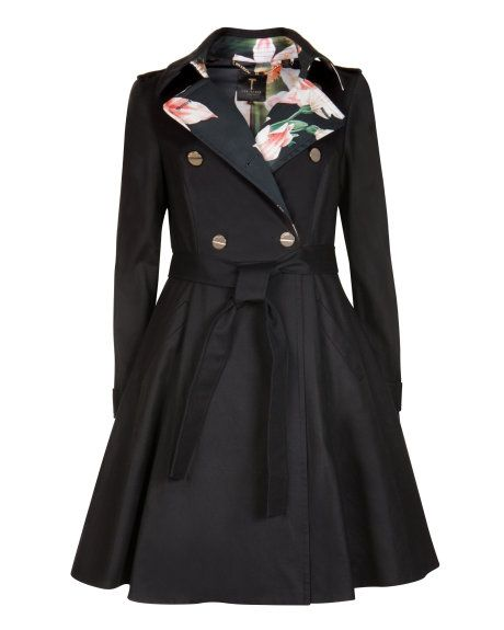 69fcfb82a2c384 Flared skirt trench coat - Black
