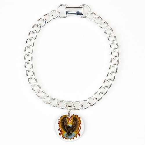 cool Charm Bracelet Eagle with Flames