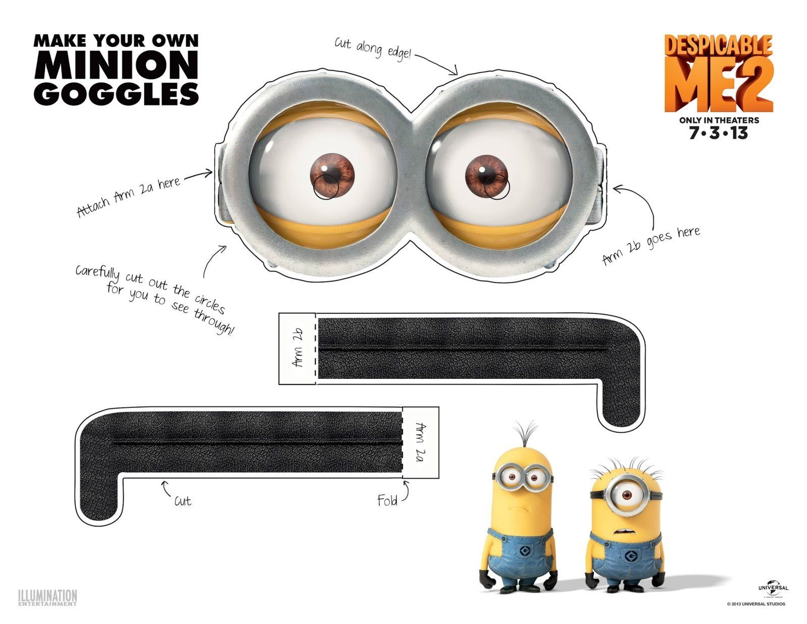 picture about Minion Goggle Printable titled Printable Minion Goggles - 2 Eyes Halloween Minion
