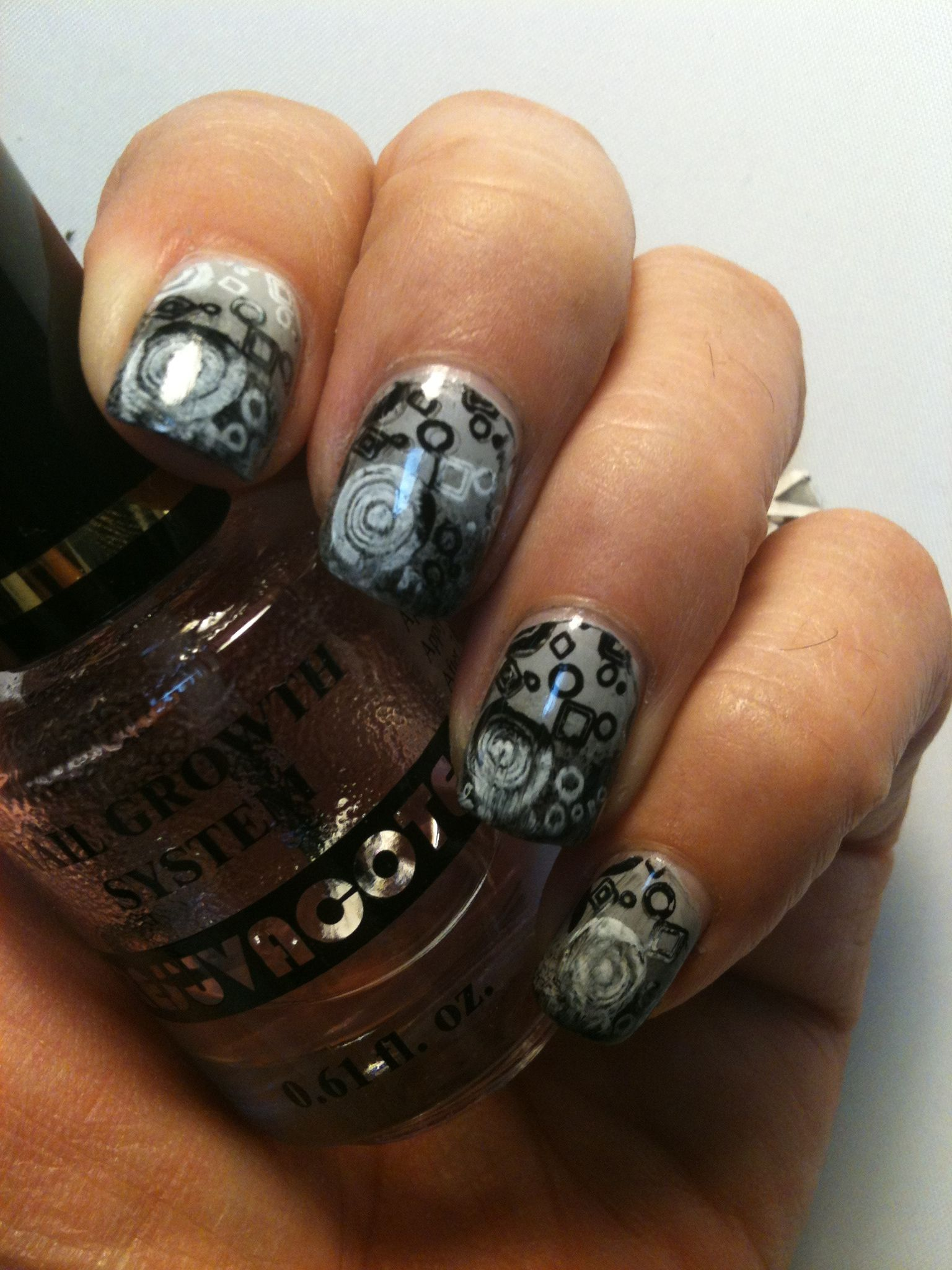 Grey and Black gra nt with black and white stamping
