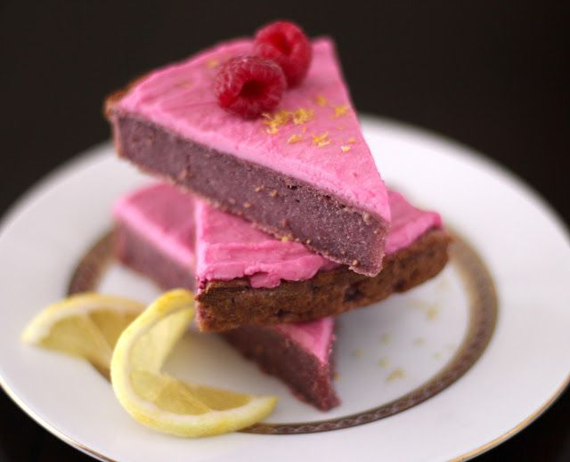 Healthy Raspberry Lemon Blondie Wedges with a Pink Frosting