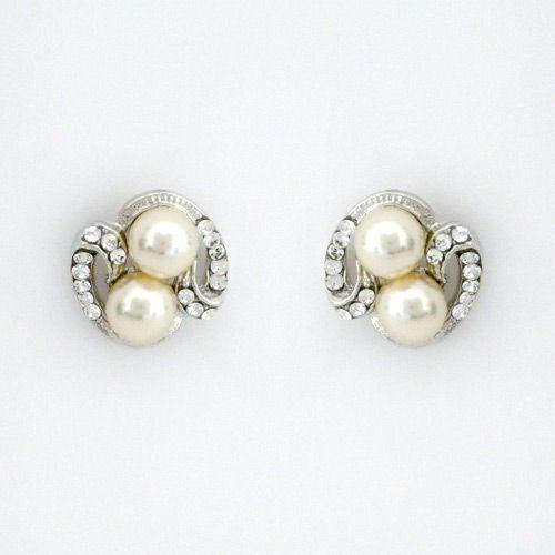 Vintage Crystal Pearl Bridal Earrings Glam
