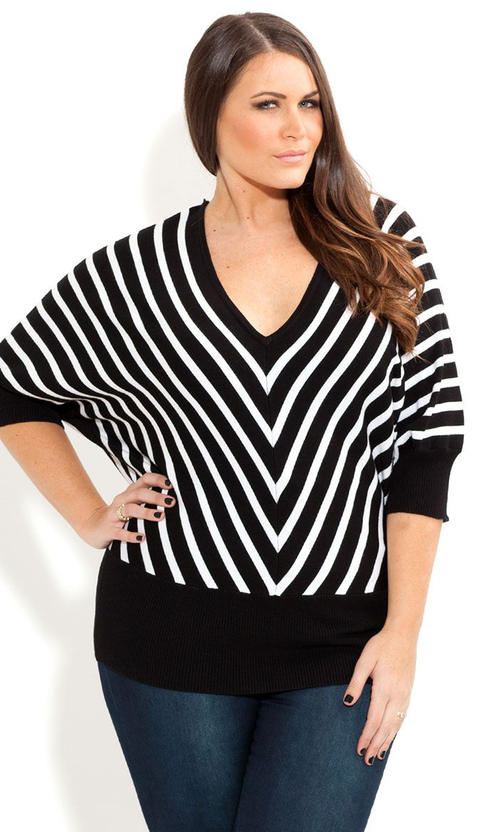 72de31bddf7 City Chic - MONO STRIPE JUMPER - Women s plus size fashion