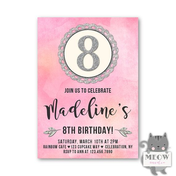 8th Birthday Invitations For A Girl Pink And Silver Glitter
