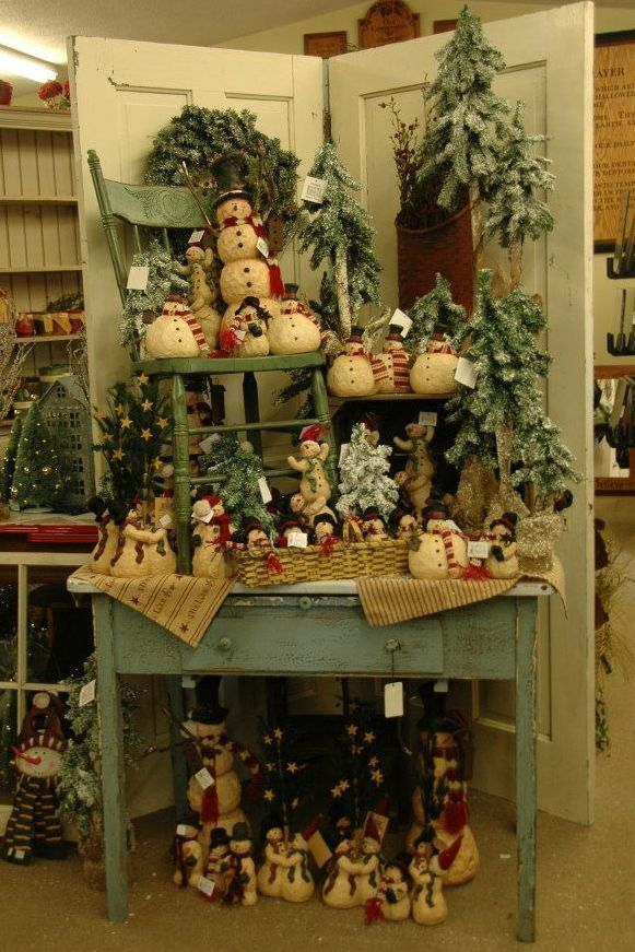 Rustic Snowmen will make you smile wwwswisscountrylawn Flea - decorative christmas trees