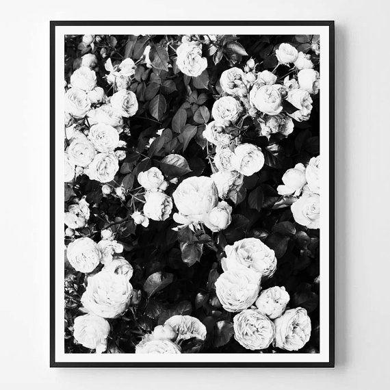 Rose Print, Black and white Photography, Fashion print, Minimal ...
