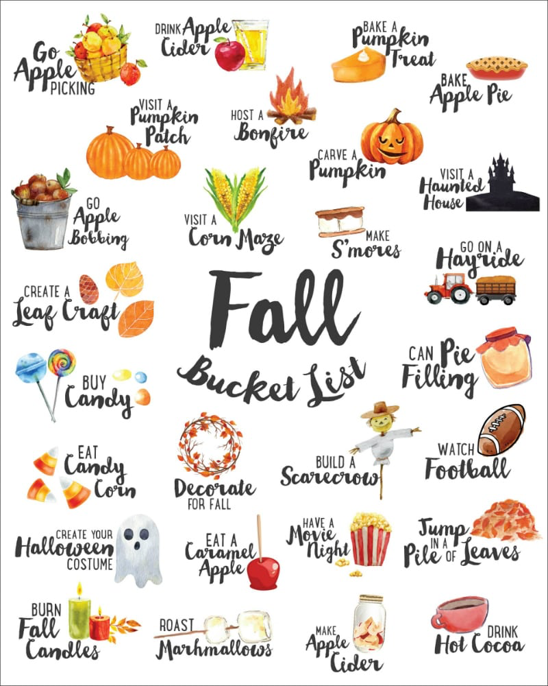 We've combined our favorite ideas into this FREE Fall Bucket List which you can print & hang up wherever will best remind you of all the fun Fall activities