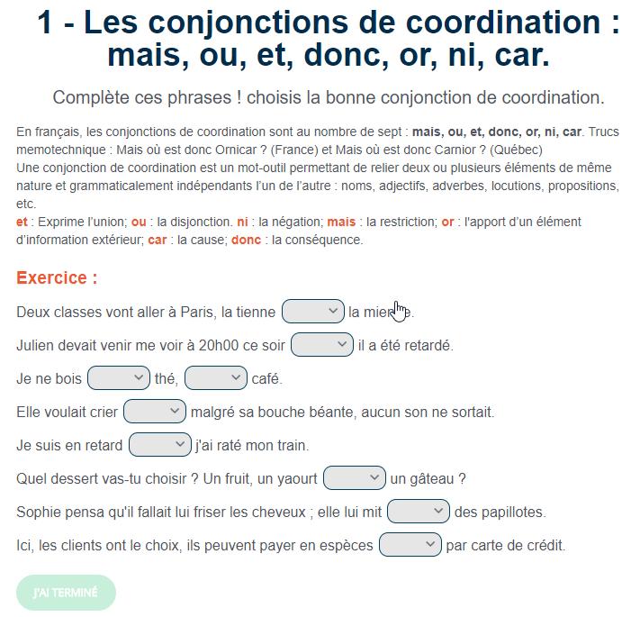 Exercice De Francais Les Conjonctions De Coordination Mais Ou Et Donc Or Ni Car Enseignement Du Francais Exercice Grammaire Types De Phrases
