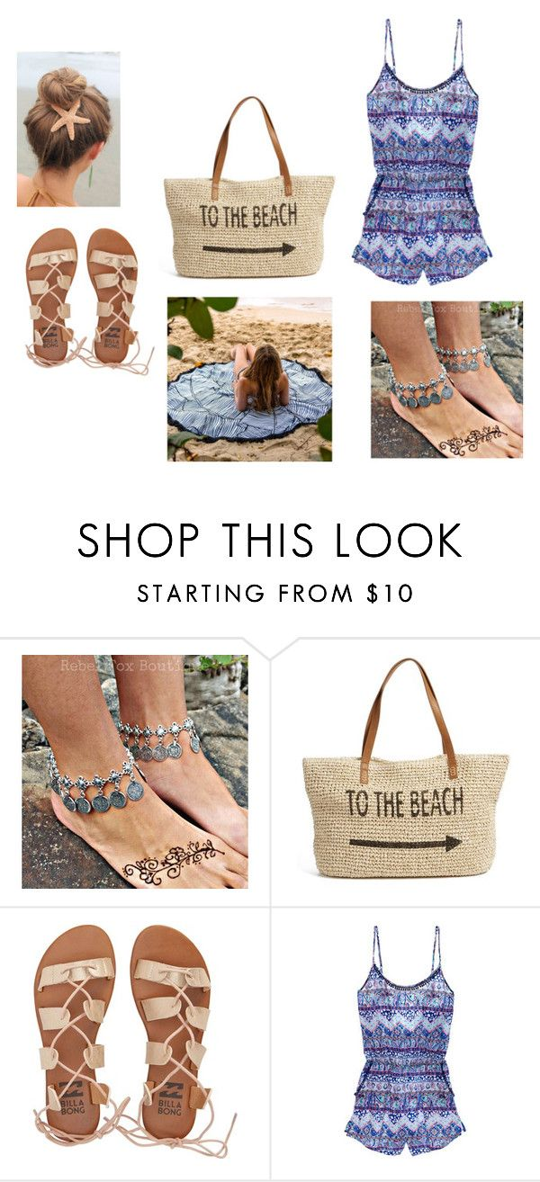 """The beach❤️"" by pokemongirl111 ❤ liked on Polyvore featuring Straw Studios, Billabong and Victoria's Secret"