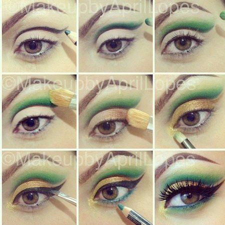 Green Eye Makeup Tutorial #eyes #eyeshadow #eyemakeup #howto #tutorial - bellashoot.com  #eyeliner