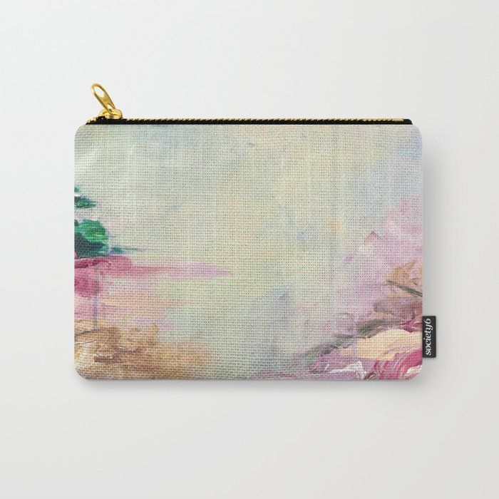 Winter Dreamland 1 Colorful Pastel Aqua Marsala Burgundy Cream Nature Sea Abstract Acrylic Painting Carry All Pouch / Travel & Pencil Pouch by Ebiemporium - Small (6