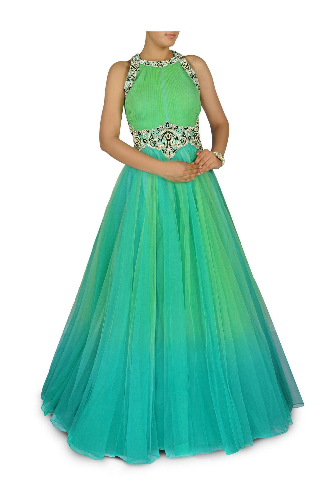 Aqua blue and green shaded indo western bridal gown hand