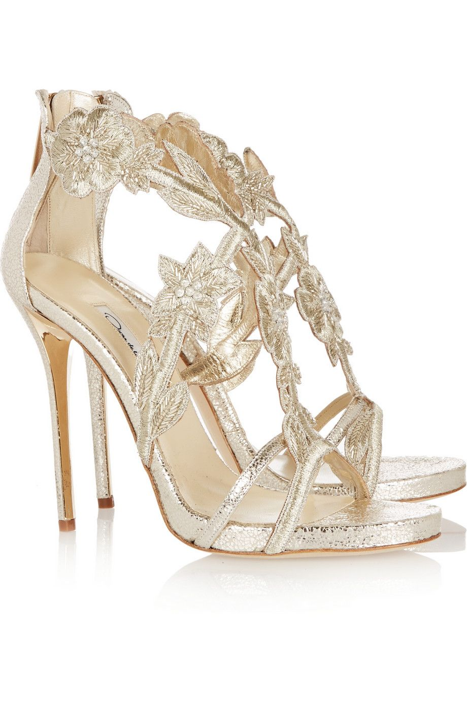 fc6c55d30bd7 OSCAR DE LA RENTA Tatum embellished metallic cracked-leather sandals ...