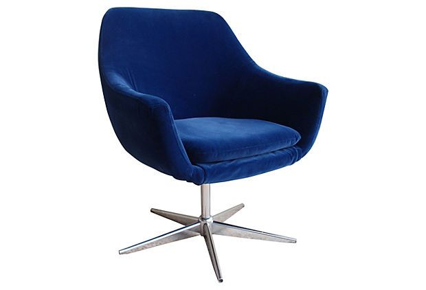 Büroeinrichtung Ikea Blue Velvet Swivel Pod Chair On Onekingslane.com | Pod
