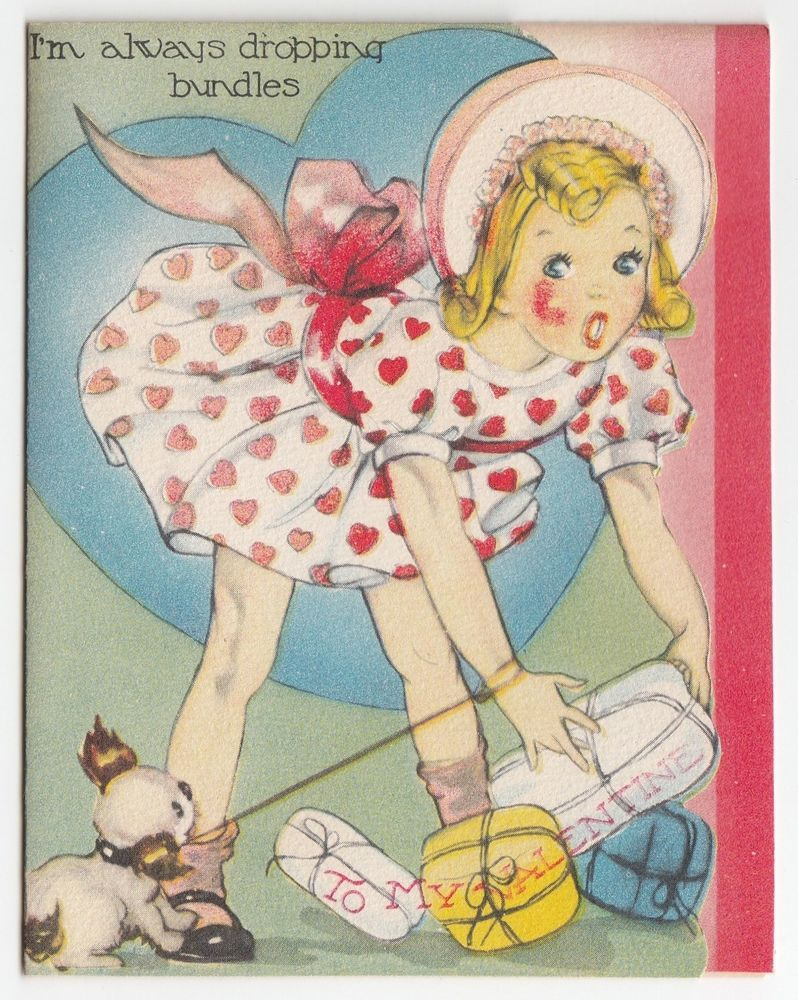 Vintage Greeting Card Valentine's Day Girl Puppy Dog Doubl-Glo UNSUED j139