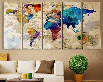 Colorful world map art extra large 5 panel canvas by zellartco colorful world map art extra large 5 panel canvas by zellartco gumiabroncs Choice Image