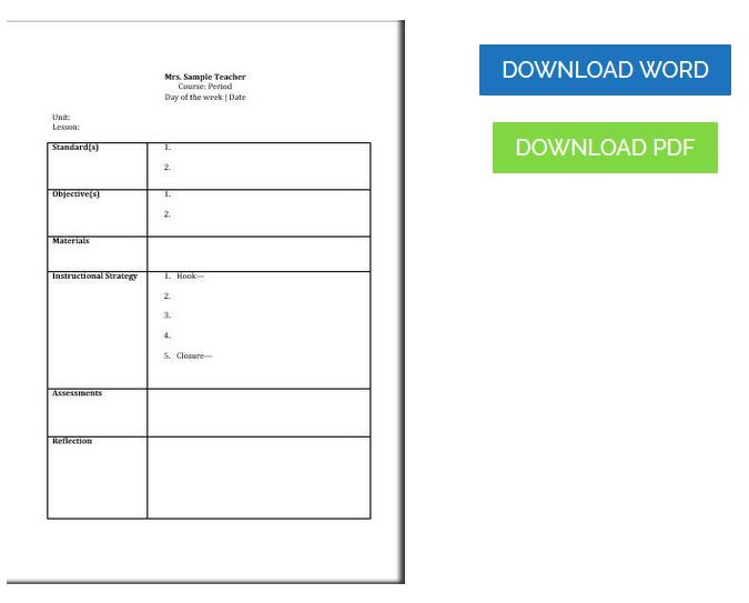 Free Printable Common Core Lesson Plan Template Editable Common