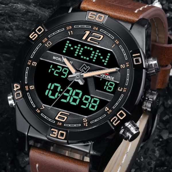 90deffbc2 NAVIFORCE Luxury Men WatchBrand Fashion Sports Watches Men's Waterproof  Quartz Date Clock Man Leather Army Military Wrist Watch