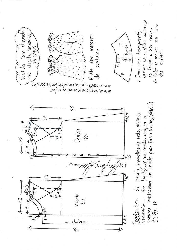 Vestido evasê raglan drapeado no decote - DIY- marlene mukai - molde ...