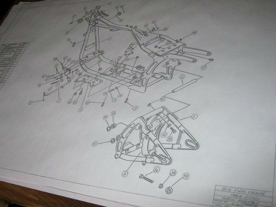 Details about HARLEY DAVIDSON Softail Frame Blueprint Drawing HD poster print Soft Tail parts