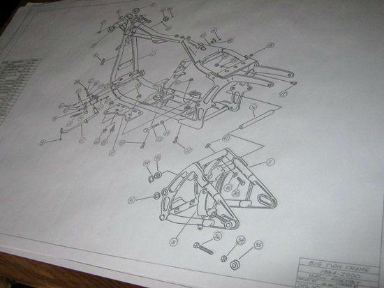 harley softail frame diagram 2003 chevy cavalier radio wiring davidson blueprint drawing hd poster print soft tail parts