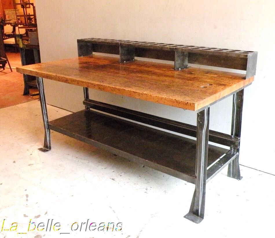 Beautiful Vintage Work Bench Industrial Design Furniture Metal