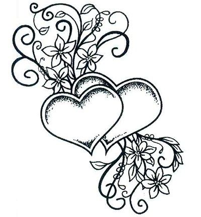 Ums085 Stempel Two Hearts Entwined Heart Coloring Pages Hearts Entwined Love Coloring Pages