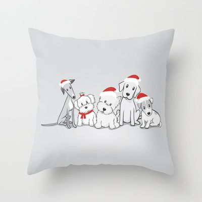 Christmas Dogs Throw Pillow by Li Kim Goh - $20.00