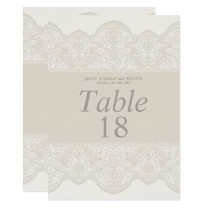 Elegant beige lace table number cards wedding invitations cards elegant beige lace table number cards wedding invitations cards custom invitation card design marriage party stopboris Choice Image